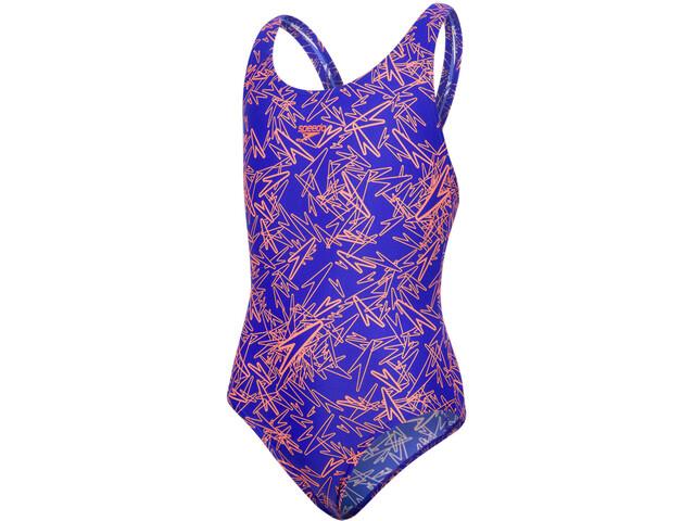 speedo Boom Allover Splashback Swimsuit Girls Ultrasonic/Fluo Orange